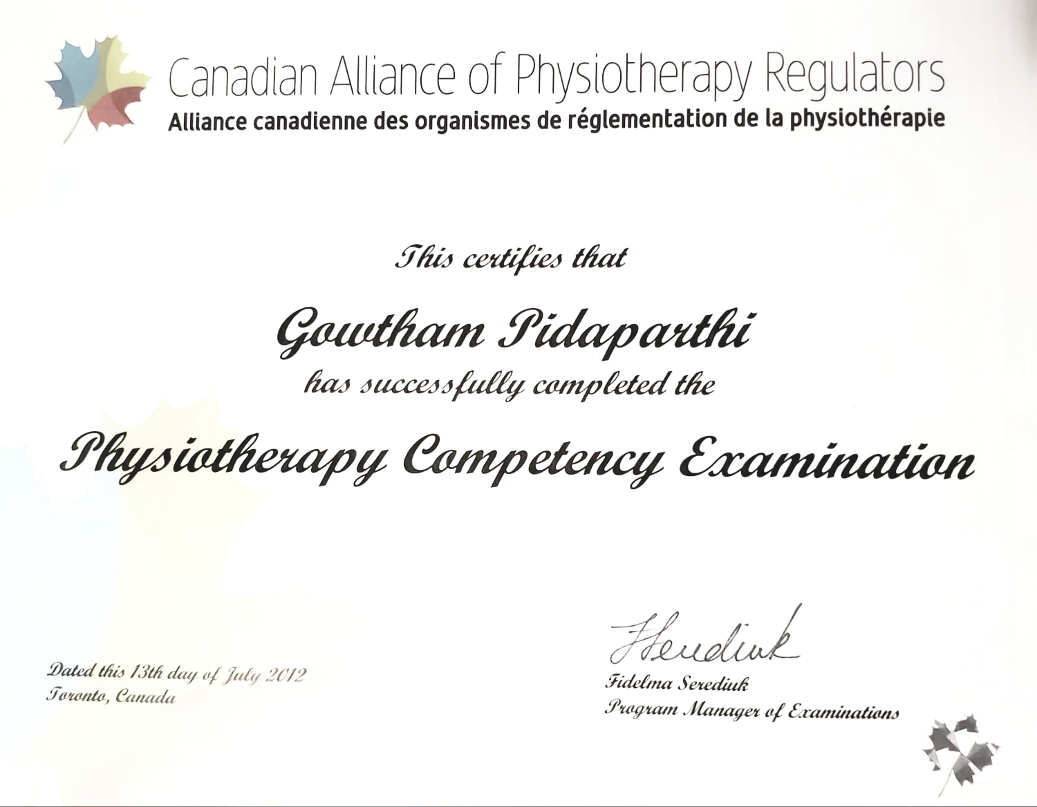 Physiotherapy Competency Examination Certification Gowtham