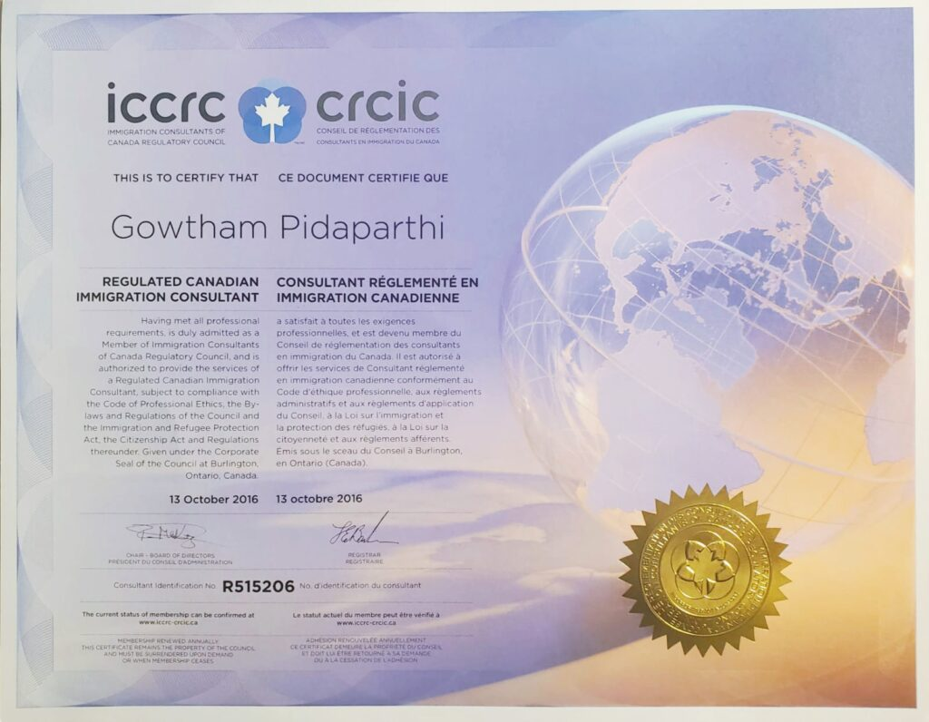ICCRC CRCIC Certificate Gowtham